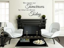 "Vinyl Wall Quote ""We Create Our Tomorrows..."" Wall Art Sticker, Modern Transfer"